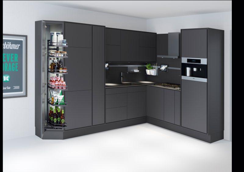 Die 6 m@ kleine Metropolküche mit intelligenten Beschlaglösungen. Bild: Kesseböhmer