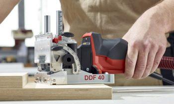 Anlegen, bohren, fertig. Mit dem neuen »Duodübler DDF 40« von Mafell entstehen Löcher für Dübelverbindungen ohne Ausmes-sen und Anreißen. Bild: Mafell