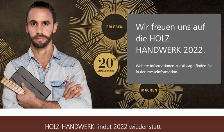 Holz-Handwerk und Fensterbau Frontale finden wieder 2022 statt. Screenshot: www.holz-handwerk.de