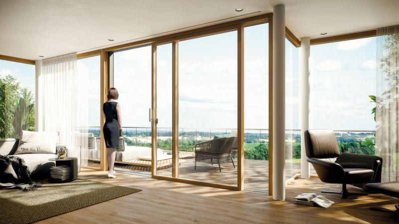 Maco ermöglicht schmales Rahmendesign und neue technische Möglichkeiten, wo Holzelemente sonst an ihr Limit kommen. Bild: Maco