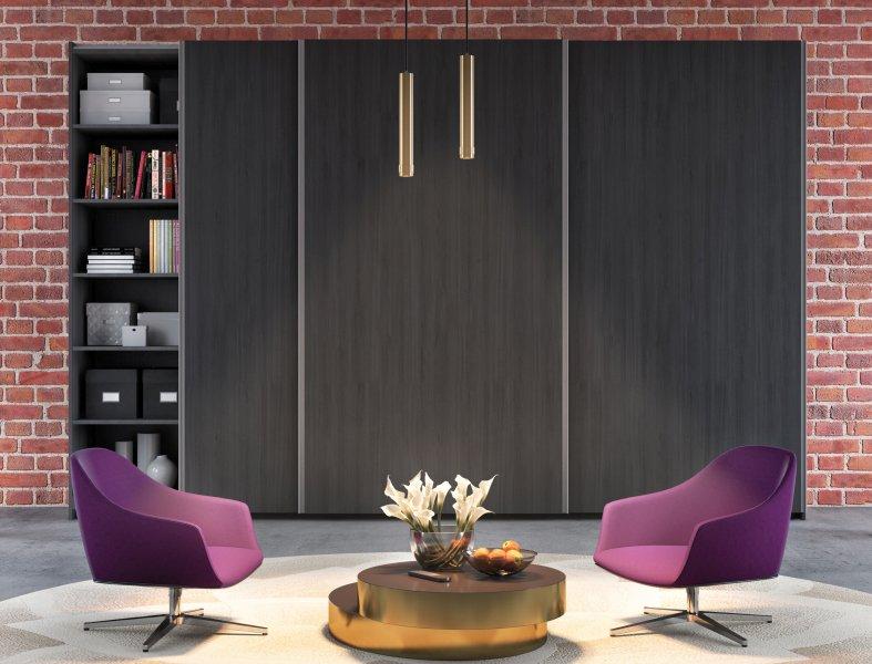 Der neue Schiebetürbeschlag »EKU Combino« von Hawa bietet 16 Designvarianten – hier als Schranklösung im Wohnzimmer. Bild: Hawa