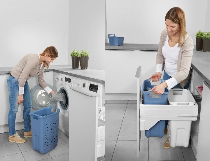 Der Einbauwäschesammler von Hailo sorgt für arbeitserleichternde Aufbewahrung. Zwei großvolumige Systemkörbe bieten Platz für zwei volle Waschmaschinenladungen. Bild: Hailo
