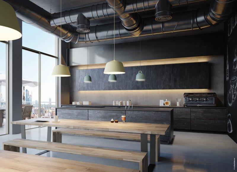 Das Dekor »skai Black Glow«, ein Holzdekor mit verinnerlichten Brandspuren, passt besonders gut zum Industrial Style von Lofts. Bild: Continental