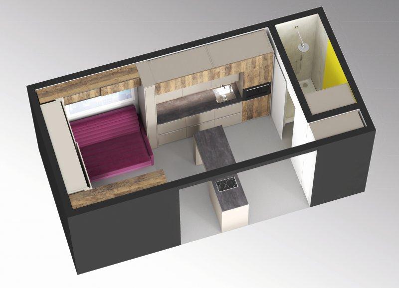 Blick ins Mini-Apartment »Tiny Space«: Die Kücheninsel wird zum Tisch, das Sofa zum Bett, die Bar zum Beistelltisch. Bild: Hettich