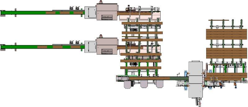 Das Kappsystem »C11_Scan_Duo« beim südamerikanischen Möbelhersteller ist mit Pufferstationen, Scansystem, zwei Kappstationen der Modellreihe »C11« und zwei Sortierbändern ausgerüstet. Bild: Paul