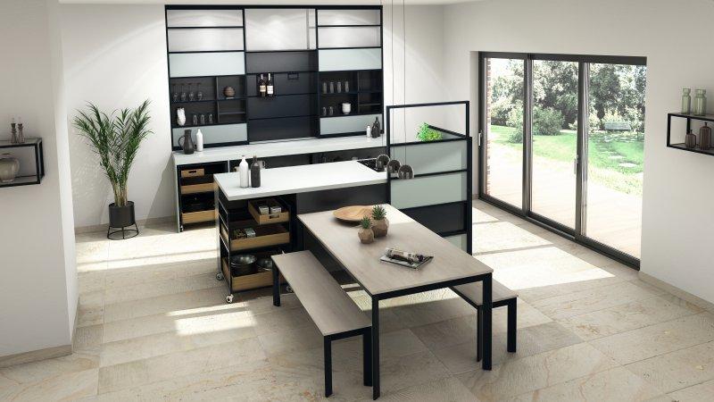 »Schüco Openstyle« ist ein Raumgestaltungssystem, das sich für verschiedene Wohnbereiche nutzen lässt. Bild: Schüco Alu Competence