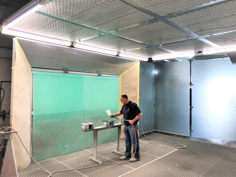 Die neue Lackieranlage für die SMS Innenausbau GmbH in Saarbrücken. Bild: Schuko