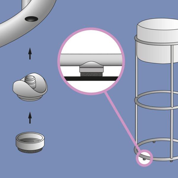 Gleiter für filigrane Drahtgestelle: »Quickclick Filigrano«. Bild: Wagner System