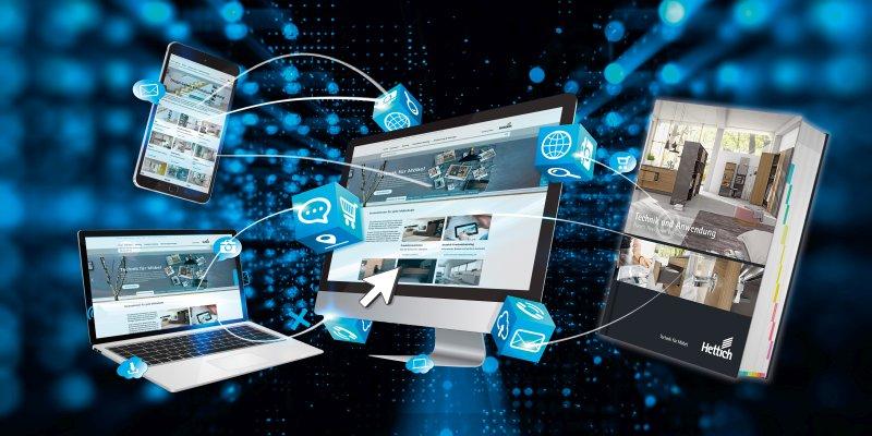 Produktwissen und Servicetools: Der aktuelle Katalog ist direkt mit praktischen Online-Angeboten verknüpft (Bild: Hettich).