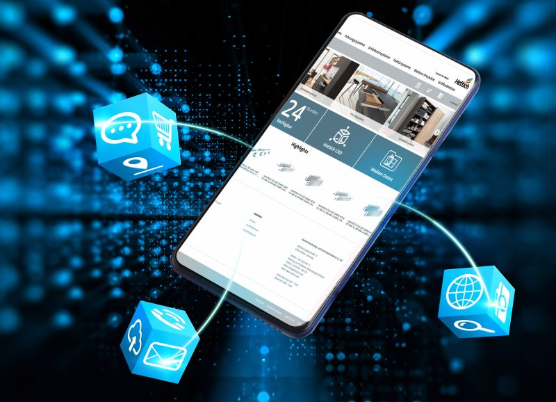 Im Online-Shop sind jederzeit die aktuellen Produktinformationen und Services verfügbar (Bild: Hettich).