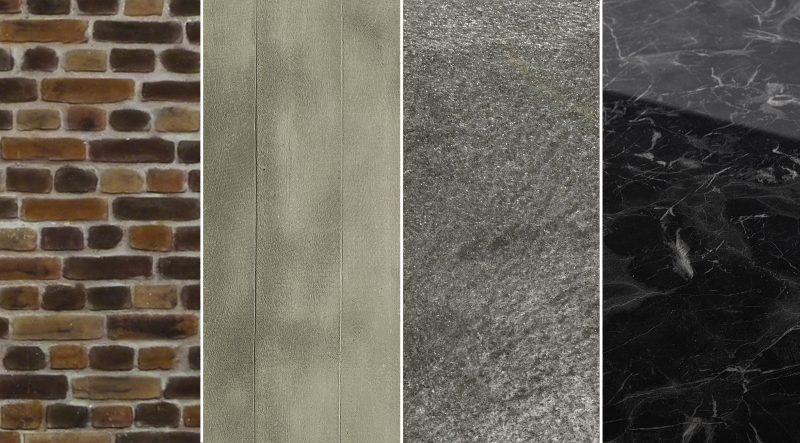 Produkte und Werkstoffe mit attraktiven Steindekoren (v. l. n. r: Steinpaneele »Ladrillo Loft classic«, Roll-Beton »Brettschalung Standard«, Steinfurnier »Dünnschiefer Galaxy Black«, »Sibu SG Marble Black AR+«; Bild: Ostermann).