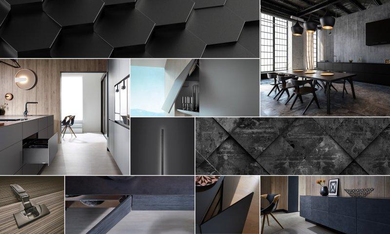 Der Trend zu dunklen Möbeln wird mit passenden Beschlägen für Klappen, Türen und Auszüge unterstützt (Bild: Blum).