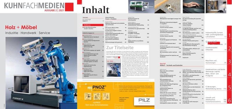 Titelseite und Inhaltsverzeichnis »Holz + Möbel 2021«