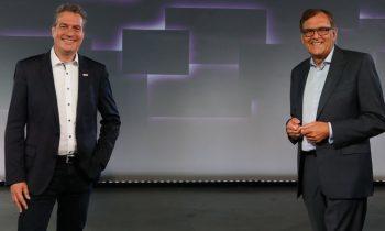 Dr. Christoph Weiß, CEO der Fein-Gruppe (re.) und Henk Becker, Vorsitzender des Bereichsvorstands von Bosch Power Tools (li.; Bild: Fein).