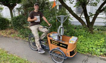 Auch für den Transport von Schleifmaschinen ist ein Elektro-Lastenrad geeignet (Bild: Pallmann).